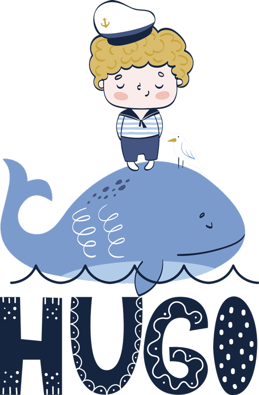 TenStickers. Custom sailor drawing nautical decal. Adhesive decorative  nautical vinyl sticker of a child sailor standing on a big sea fish with a name that can be personalised for you .