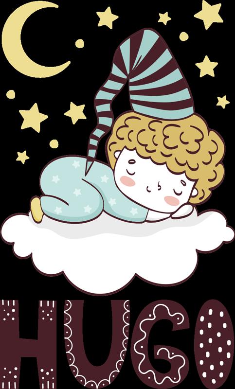 TenStickers. 可定制的睡眠儿童插画贴花. 可以轻松地将熟睡中的孩子的墙贴花与月亮和星星以及您选择的自定义名称一起应用在云上。