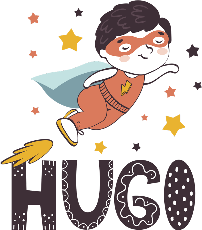 TenStickers. Prilagodljivo ime superheroja nalepka za superheroje. Enostaven za nanašanje letečega nalepka za stene superjunaka, ki ga je mogoče prilagoditi poljubnim otroškim imenom, da okrasite prostor otroške sobe. Enostaven za uporabo.