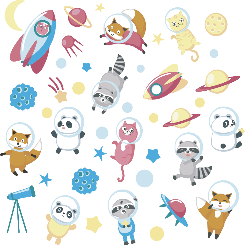 TenStickers. Animals in space window decal. Easy to apply window sticker design with animals in space with all the space elements to decorate the bedroom window of kid or infant.