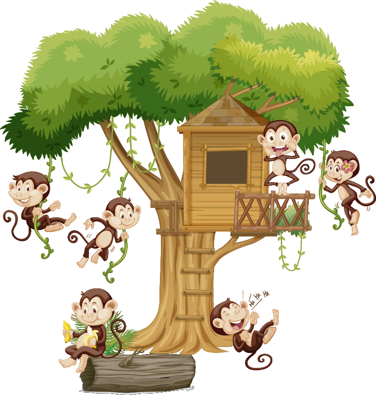 TenStickers. Savannah animals window decal. Adhesive decorative window vinyl decal of savanna animals playing and jumping all over a tree house.Suitable  window decoration of  kid or infant room.