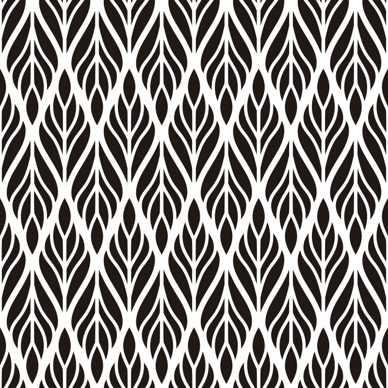 TenStickers. Blad patroon zelfklevende raamsticker. Eenvoudig aan te brengen raamvinyl overdrukplaat ontwerp van bladpatroon in een sierstijl om het raamoppervlak van elke ruimte in het huis te verfraaien.