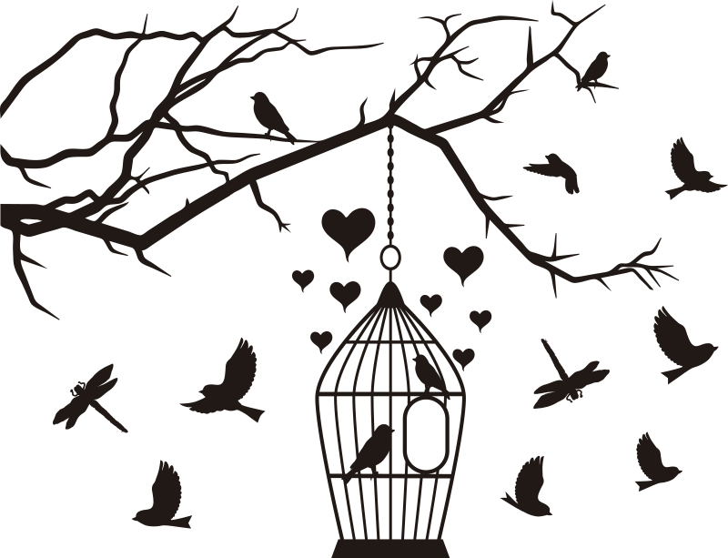 TenStickers. Birds in cages window decal. Decorative window vinyl decal design of birds in the cage and on tree branches with hearts. You can have the product in any colour of preference.