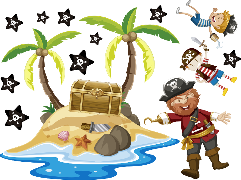 TenStickers. Pirates and palm trees window decal. Easy to apply decorative window decal with pirate and palm trees that is suitable to apply on the window of kids bedroom.