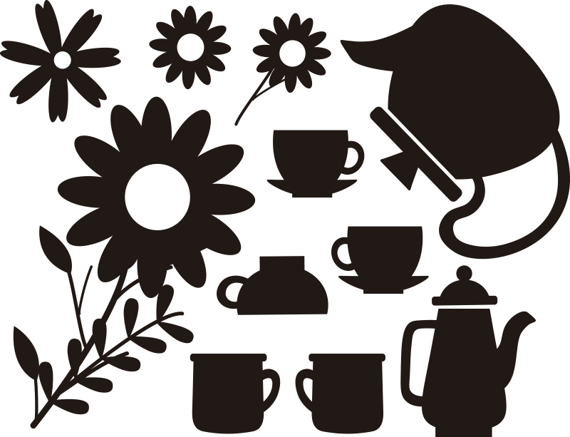 TenStickers. Teapot and company window decal. decorative window decal design of teapots and cups with flowers for any kitchen window surface for both home and restaurant.