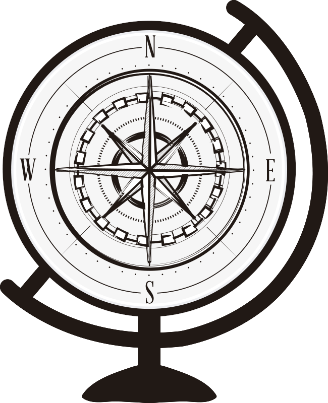 TenStickers. Compass travel wall decal. Need to remember directions North, South, East and West? This travel wall sticker makes it an easy task! A beautiful compass in the style of a globe