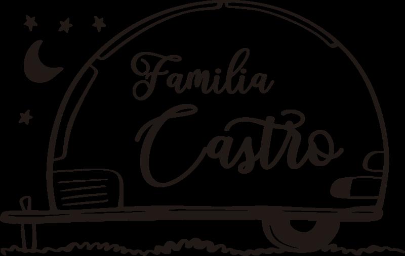 """TenVinilo. Vinilo decorativo motor caravana familia personalizado. Maravilloso vinilo para vehículo personalizable en el que aparece una caravana y la frase """"familia"""" acompañada por el nombre de vuestra familia"""