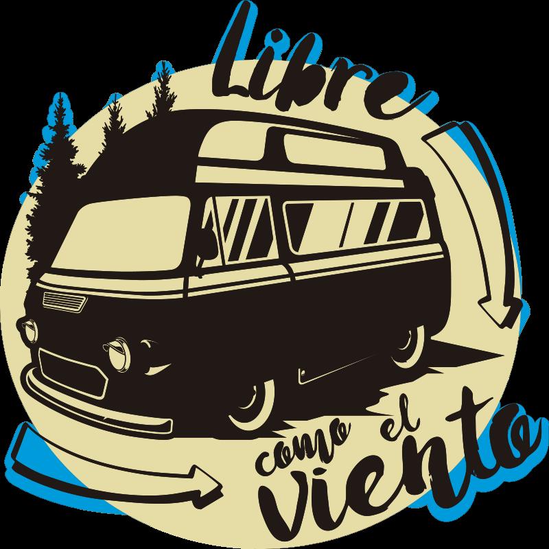 """TenVinilo. Vinilo decorativo vehículo caravana libre como el viento. Increíble vinilo para vehículo de caravana con la frase """"libre como el viento"""" con el que podrás reflejar tu manera de ser. Fácil de aplicar."""