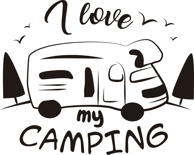 TenStickers. I love my camping vehicle vinyl sticker. Easy to apply adhesive car vinyl decal design of a caravan with text '' i love camping'' you can enjoy the design in any colour of your choice.