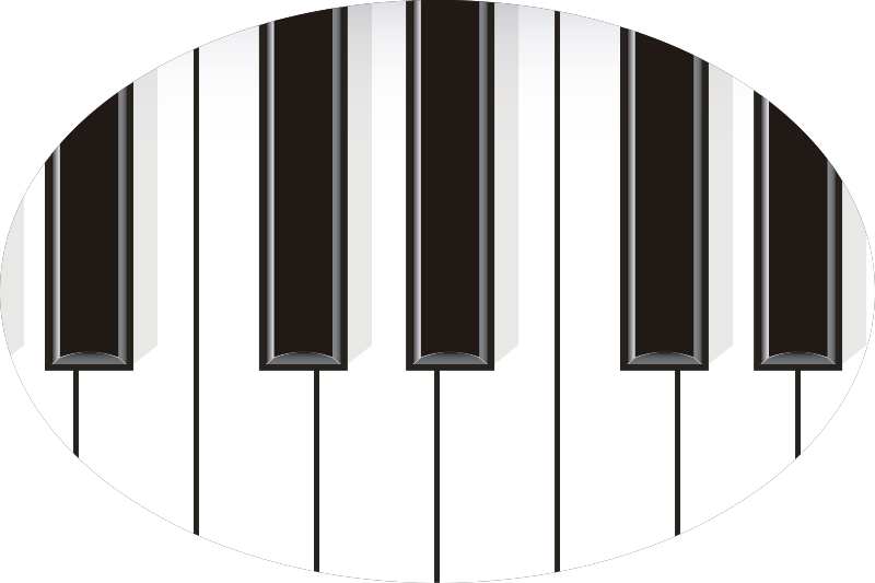 TenStickers. Piano for car Car Decal. Easy to apply car vinyl sticker design of a piano with it key features on it in a round surface background. You can apply it on the bonnet or window.