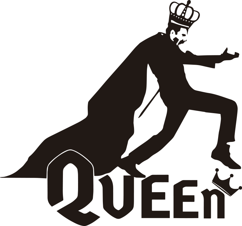 TenStickers. Queen Freddie Mercury pop music decal. Decorative and easy to apply wall art decal of pop artist in the person of Freddie Mercury with the text '' Queen'' and you can have it in any colour.