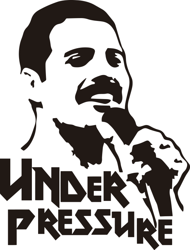 TenStickers. Stencil pop Queen Under Pressure. Lo  sticker musicale dei Queen con Under Pressure è un'idea fantastica per creare un'incredibile atmosfera rock dentro le tue pareti domestiche!