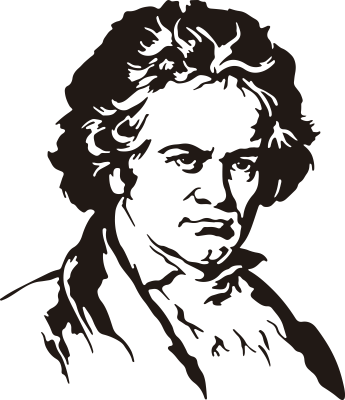 TenStickers. Beethoven portrait classical music decal. Buy our easy to apply decorative wall sticker silhouette portrait of Beethoven portrait, a classical music art personality .