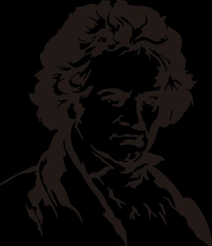TenStickers. 베토벤 초상화 클래식 음악 데칼. 베토벤 초상화, 클래식 음악 예술 성격의 장식 벽 스티커 실루엣 초상화를 적용하기 쉬운 구입하십시오.