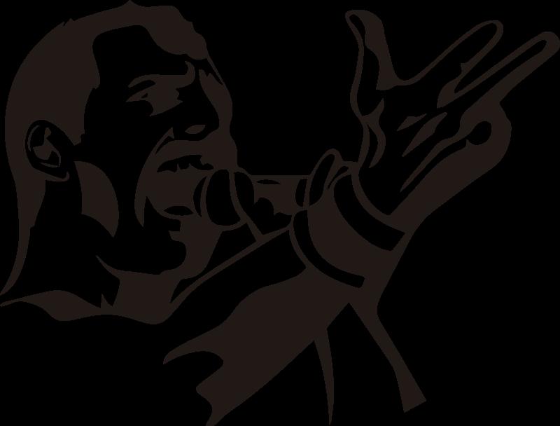 TenStickers. Freddie mercury portrait personnage adhesif deco. Autocollant facile à appliquer portrait de personnage de adhesif de freddie mercury, il est conçu dans un style de dessin en noir et blanc.