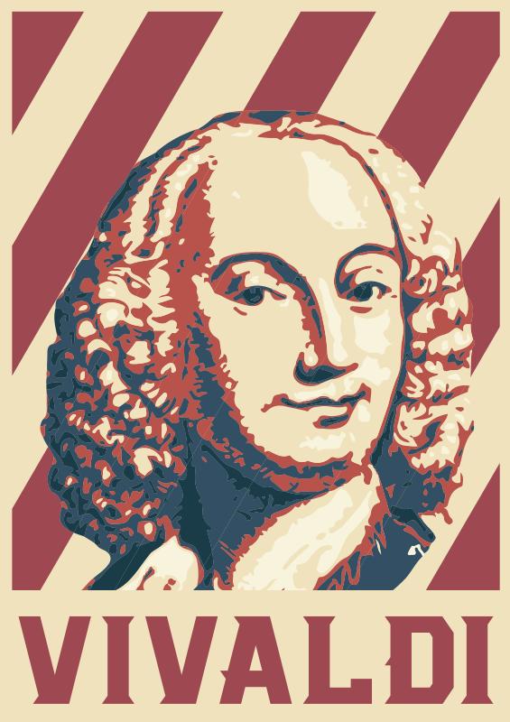 TenStickers. 维瓦尔第波普艺术肖像古典音乐墙贴. 易于粘贴古典音乐家维瓦尔第(vivaldi)的墙壁艺术贴纸。该设计是一种可爱色彩的数字印刷品,可在您的墙壁上做一个框架