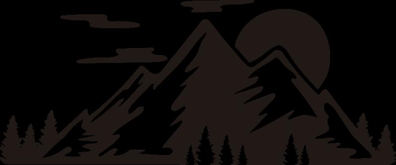 TenStickers. Stickers caravan natuur bergen. Een prachtige natuur sticker die u kunt plaatsen in elke kamer in het huis, of natuurlijk op een auto of een caravan, dat is volledig aan u.