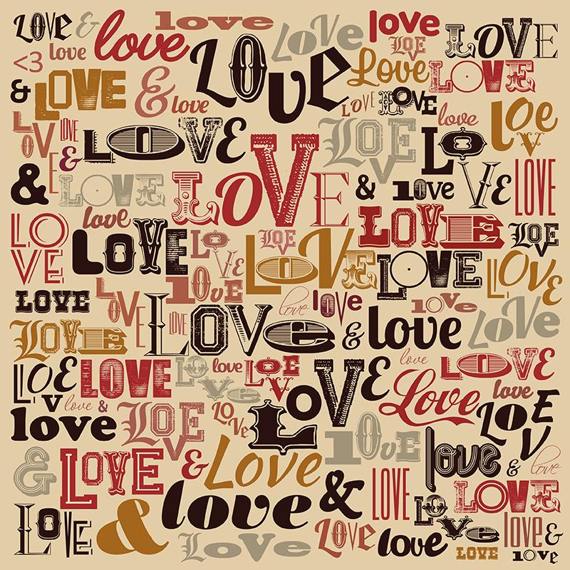 """TenVinilo. Mural adhesivo Love Tipográfico. Fotomural adhesivo formado por el texto """"LOVE"""" escrito en diferentes tipografías y colores y sobre un fondo en crema. Vinilos Personalizados a medida."""