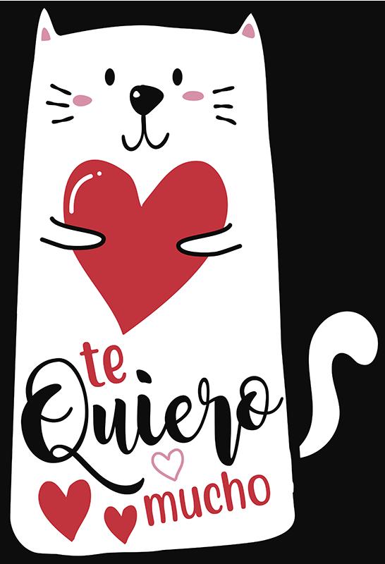 """TenVinilo. Pegatina te quiero con gatos. Pegatina para regalar en San Valentín formada por el diseño de un gato con el texto """"Te quiero mucho"""". Atención al Cliente Personalizada."""