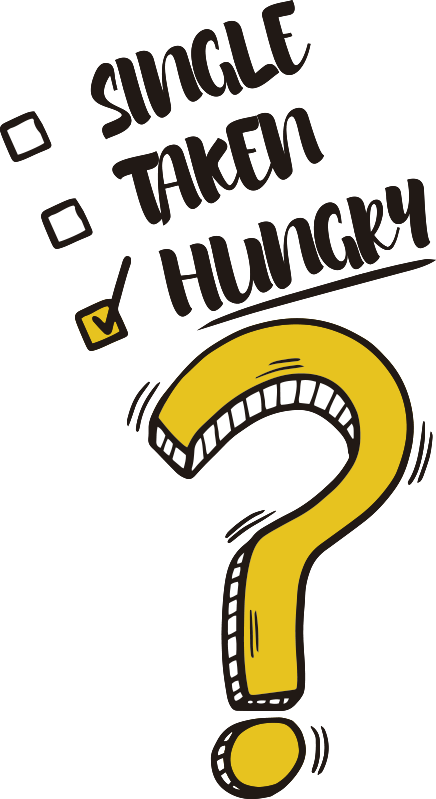 TenStickers. Hungry funny list fridge wrap. So you aren't single, you aren't taken, so what are you? Hungry of course! Why not decorate your kitchen with this fridge sticker?
