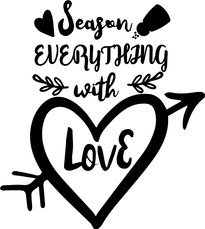 TenStickers. Season everything with love fridge sticker. Any chef or home cook knows that a sprinkle of salt, a pinch of pepper and and a heap of love make a great dish! Decorate with this fridge sticker