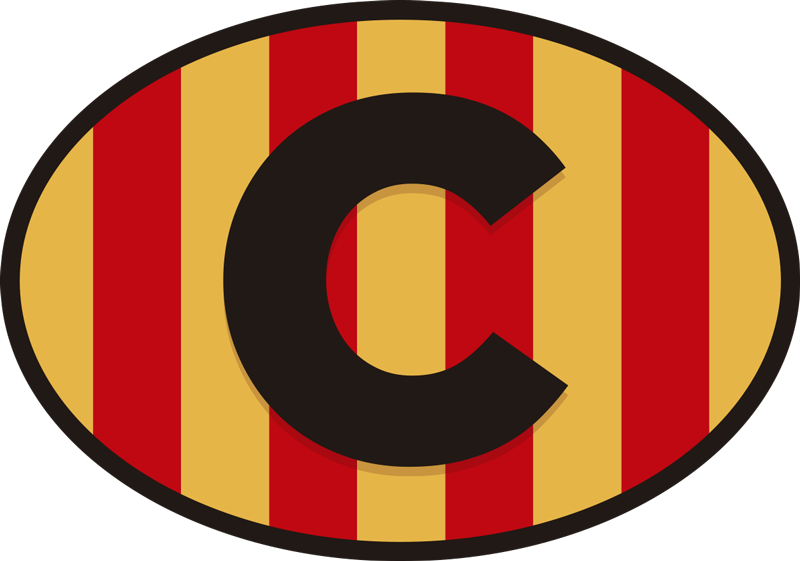 TenVinilo. Vinilo para coche Catalunya. Fantástico vinilo para coche de Barcelona y Catalunya con la bandera de la Senyera y la inicial de Catalunya en el centro. Fácil de aplicar.