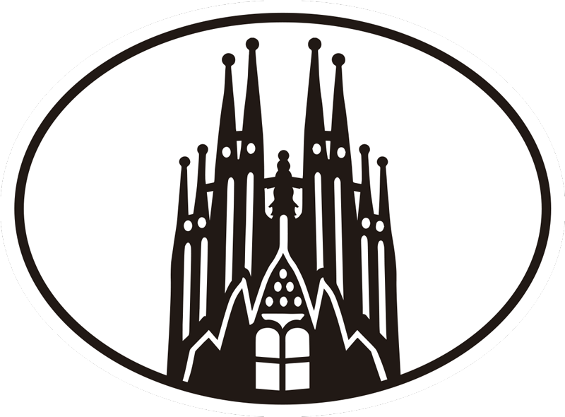 TenVinilo. Vinilo decorativo Barcelona Sagrada Familia. Maravilloso sticker para coche de Barcelona con la imagen de la Sagrada Familia que ahora puedes colocar para disfrutar de un coche a tu gusto
