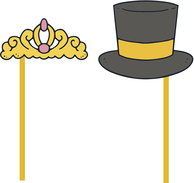 TenStickers. Wedding car hat and tiara bonnet wedding sticker.  Decorative wedding decal of tiara and a hat to apply on car or wedding ceremonies. Very pretty design that announce there is a new couple in town.