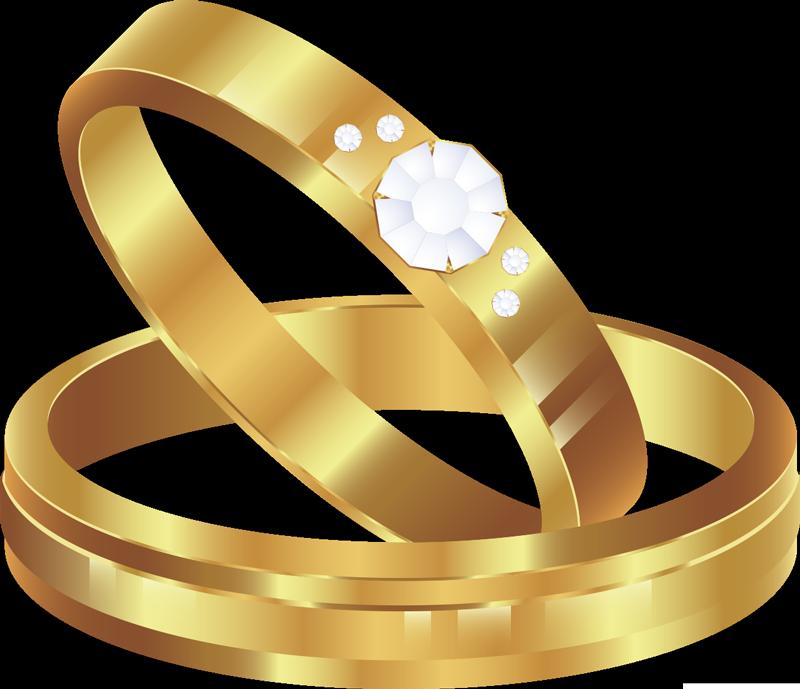 TENSTICKERS. ボーイフレンドオリジナルリングボンネットウェディングデカール. 金色に輝く結婚指輪の簡単に貼れる車のステッカー。その上に輝く石が重ねられています。