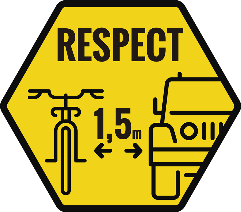 TenStickers. Respect Cyclist Car Decal. A car window decal with sport cycling details and distance record to show respect for cyclist. Design is created on an hexagonal yellow background.