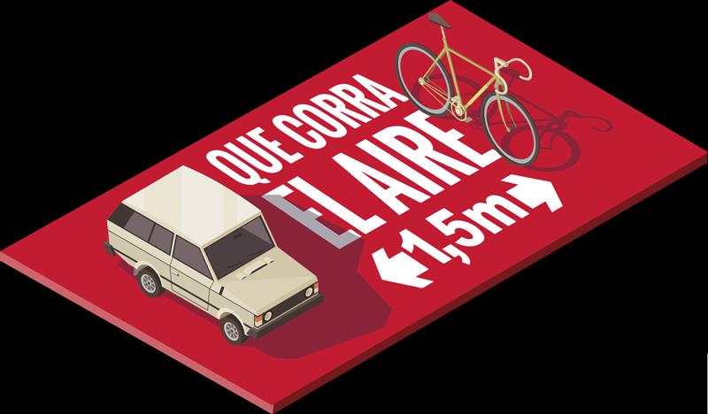 TenVinilo. Vinilo precaución ciclista que corra el aire. Aplique este vinilo señalética de precaución ciclista para autos creado con una bicicleta, un auto y texto. Fácil de aplicar.