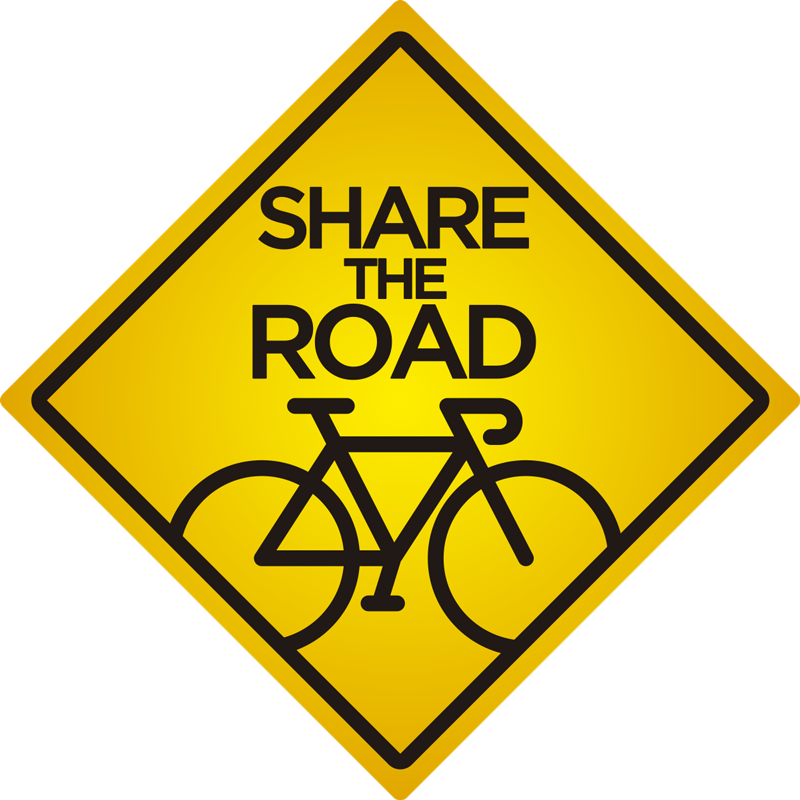 TenStickers. Cyclist caution share the road Car Decal. Easy to apply self adhesive car sticker created with a bicycle and a text that says '' share the road. This design is on a quadratic shape.
