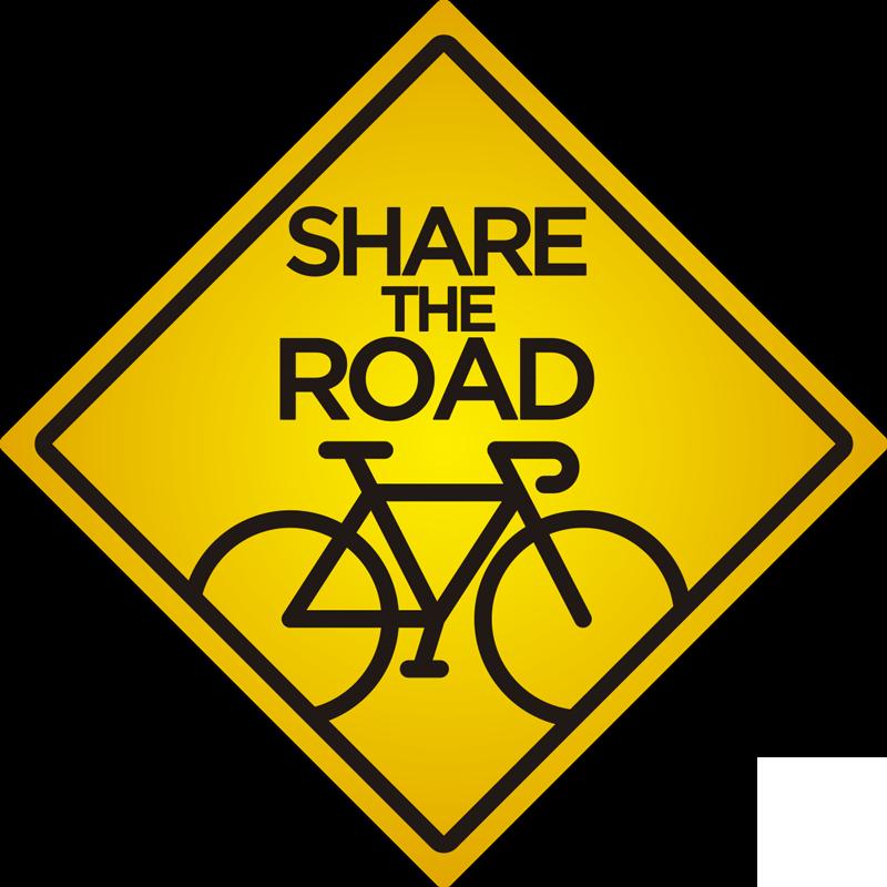 """TenVinilo. Vinilo señalética frase comparte la carretera. Vinilo adhesivo para auto fácil de aplicar creada con una bicicleta y un texto que dice """"compartir la carretera"""". Este diseño tiene una forma cuadrática."""
