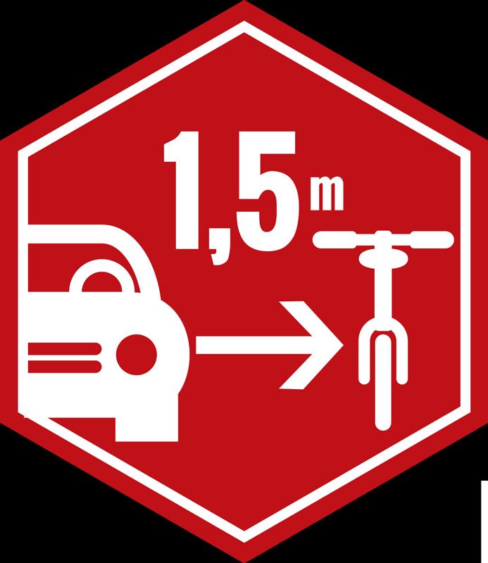 TenStickers. Respect voor  de fietswagen zeshoekige embleem. Eenvoudig aan te brengen zelfklevende autosticker gemaakt in een zeshoekige vorm met een fiets om te fietsen. Het ontwerp moet respect tonen voor zeshoekige fietsers.