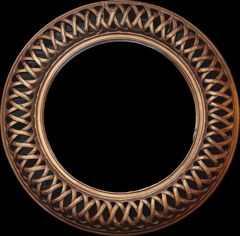 TenVinilo. Vinilo adhesivo marco de espejo redondo antiguo. Vinilo decorativo de marco de espejo fácil de aplicar creado con un efecto antiguo en un estilo de tejido entrelazado. Puede aplicar esto en su baño o espejo de tocador.