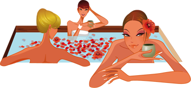 TenStickers. Women in a Jacuzzi Sticker. Bathroom wall stickers -A colorful bathroom decalthat gives your bathroom a unique look Featuring ladies relaxing in a Jacuzzi.