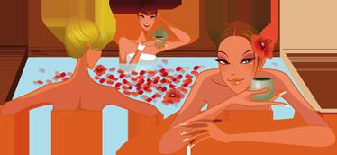 TenVinilo. Vinilo decorativo mujeres jacuzzi. Sensual Adhesivo de tres chicas tomando un té mientras se relajan en las burbujeantes aguas de una bañera llena de pétalos rojos.