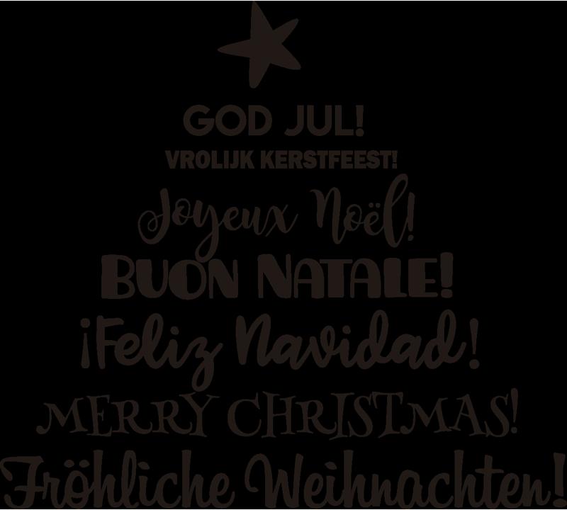 """TenVinilo. Pegatina de navidad Árbol multilingüe. Vinilo navideño con la silueta de un árbol, formada a partir del texto """"¡Feliz navidad!"""" en diferentes idiomas. Promociones Exclusivas vía e-mail."""