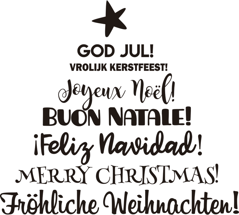 TenStickers. 다국어 크리스마스 트리 크리스마스 벽 스티커. 당신의 가정을 꾸미기 위해 다른 언어로 크리스마스 인사의 축제 비닐 스티커. 원하는 색상으로 디자인 할 수 있습니다.