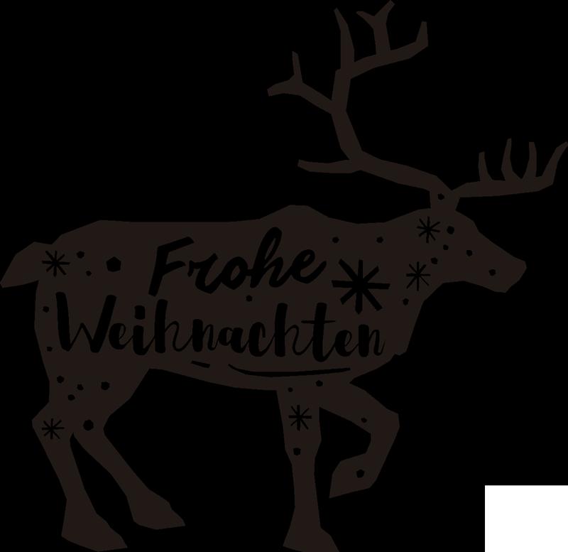 """TenStickers. Weihnachtsaufkleber Hirsch mit Text. Der elegante Hirsch mit dem Schriftzug """"Frohe Weihnachten"""" ist der schönste Wandaufkleber den Sie an Weihnachten finden können!"""