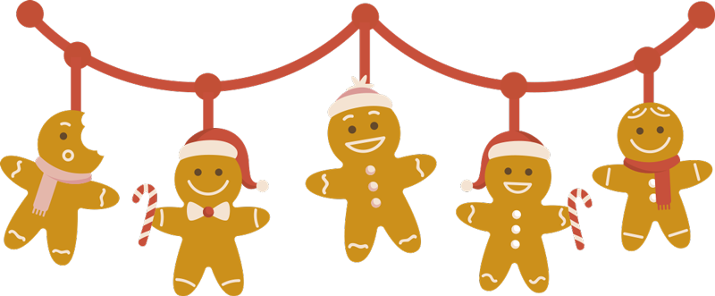 TenStickers. Christmas cookies border christmas wall sticker. Christmas festive boarder decal for kids created with toys hanging on a rope line. Very decorative design for kids bedroom.