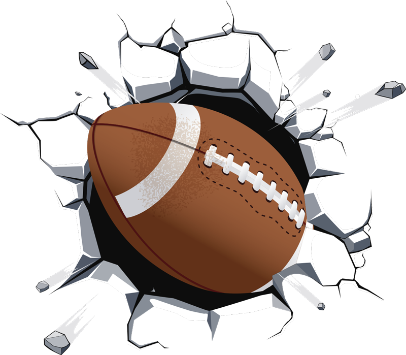 TenStickers. NFL american football decal. A superb NFL sticker featuring an American football breaking through your wall. This product would suit places such as your kid's bedroom!