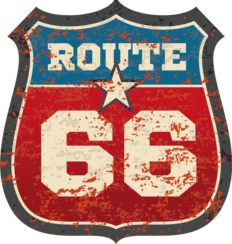 TenStickers. Route 66 location decal. Driving on this road is a dream for many people, but if you are still saving up for the trip then we are sure this Route 66 sticker will satisfy you