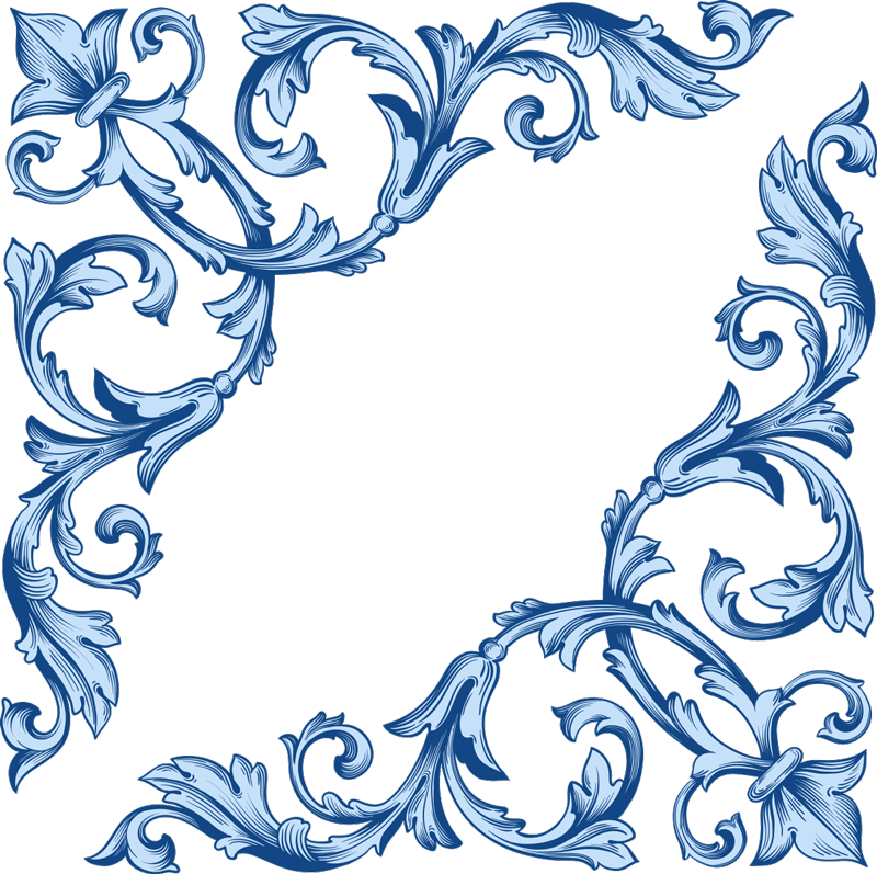 TenStickers. Blue floral corners mirror wall sticker. A floral ornamental mirror decal to decorate your bathroom mirror and dressing mirror . You can have the design in size you prefer.