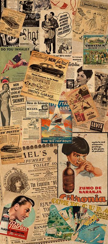 TenStickers. 老式广告剪报冰箱包装. 您的冰箱表面的老式广告冰箱包装。设计中包含许多您喜欢的文字的不同形式的剪报。