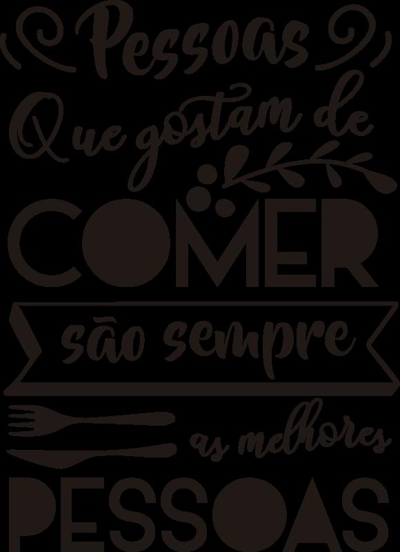 TenStickers. Vinil Decorativo de Cozinha As Melhores Pessoas. Se és daquelas pessoas que adoram comer, então este autocolante com texto personalizado para cozinha é a decoração ideal para a ti!