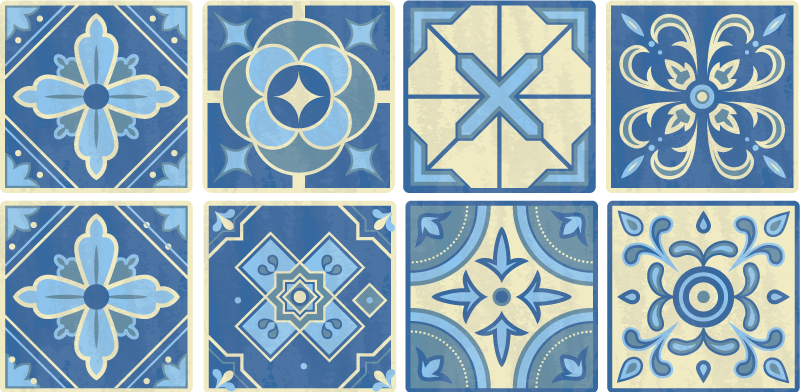 TenStickers. Portuguese tile border sticker. A Portuguese border tile decal to decorate your wall at home . You can use this ornamental created design on your kitchen wall.