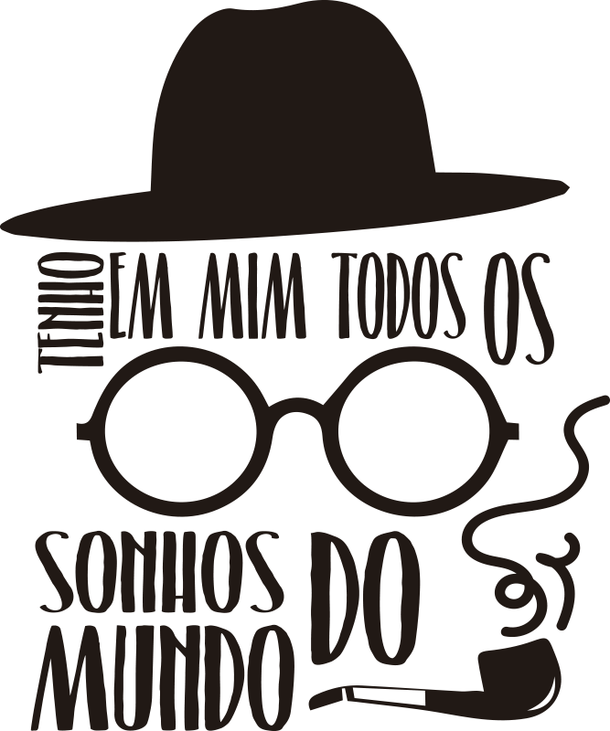 """TenStickers. Autocolantes de citações celebres Fernando Pessoa. Decora o teu quarto ou sala com este inspirador autocolante decorativo da citação """"Tenho em mim todos os sonhos do mundo"""" do poeta Fernando Pessoa."""