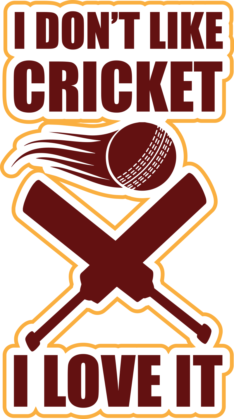 TenStickers. Cricket quote quote decal. A cricket famous quote wall decal design created with text in colours and ball and a bat.This will make an impression of your though about this sport.