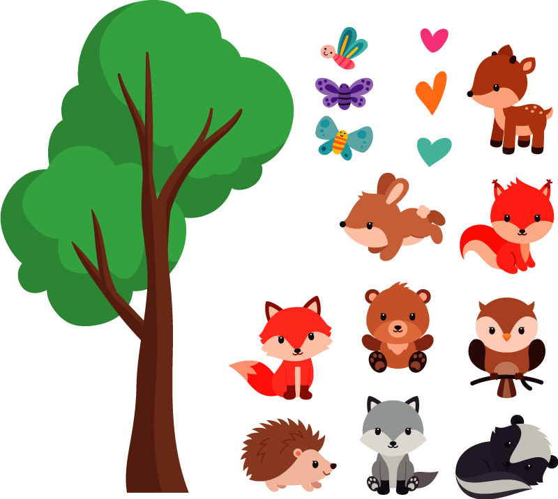 TenStickers. Cheerful forest animals wild animal sticker. Tree with animals wall sticker for kids bedroom. This product is created in a very colourful and attractive design that the kids will love.